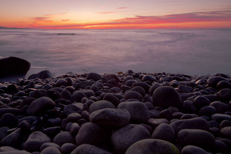 acadia boulder beach at sunrise