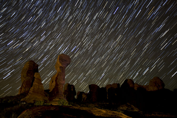 adamm and eve star trails arches