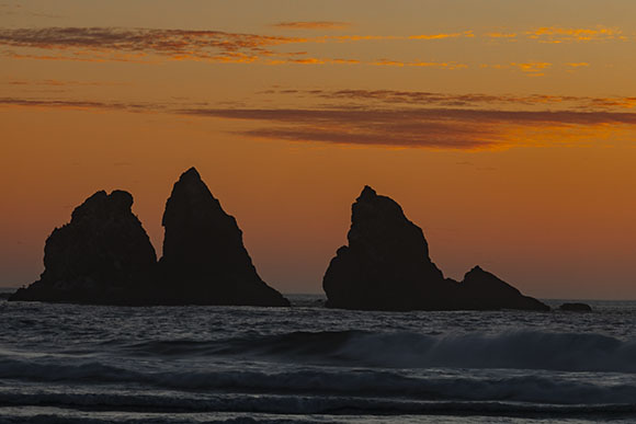 bandon seastack sunset
