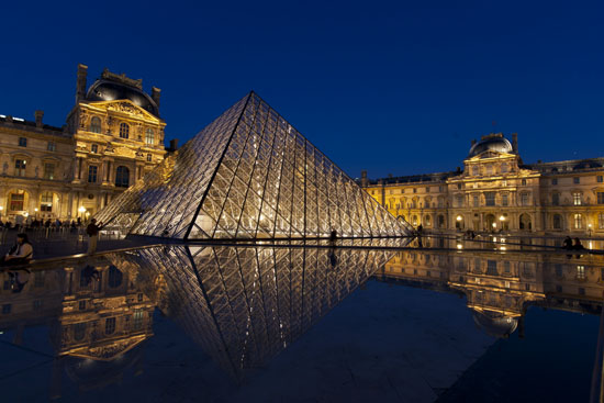 Louvre and Pyramid at night