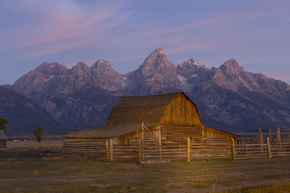 mormon row barn sunrise
