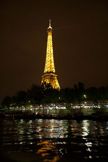 eiffel tower at night paris france photo