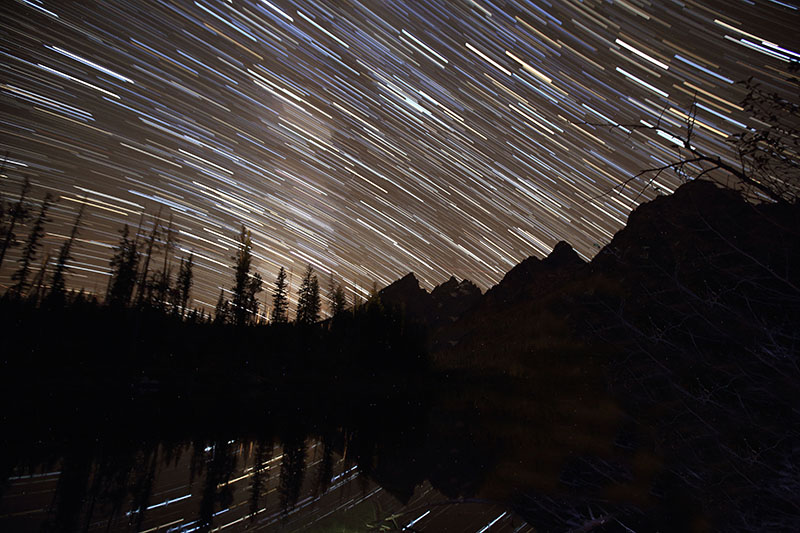 String Lake star trails Tetons