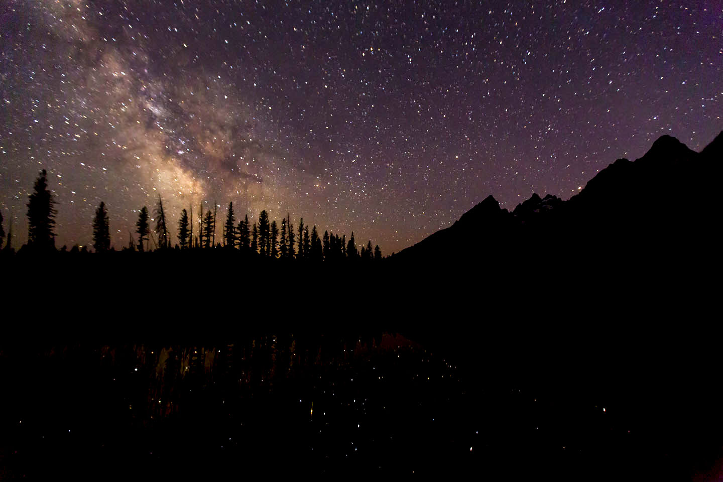 tetons and milky way